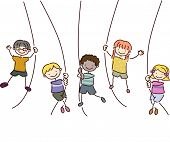 Illustration Featuring Kids Holding on to Ropes