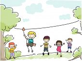 Illustration Featuring Kids Riding an Improvised Zipline