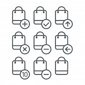 Different shopping icons set with rounded corners. Design elements