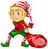 illustration of an elf dragging a bag