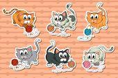 Illustration of a set of kittens