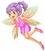 Illustration of a pink fairy flying