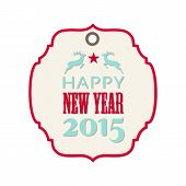 New Year 2015 Label With Reindeer