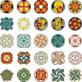 Vector set of floral ornamental circle designs in vintage style.Floral Ornamental Circle Designs Set