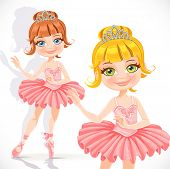 Ballerina girl in pink dress and tiara