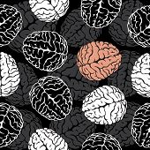 brain seamless background vector. Template for your design
