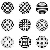 Black and white 3D patterned sphere vector design elements.
