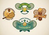 Set of vintage styled tennis club labels. Raster illustration.