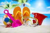 Collection of beach toys accessories