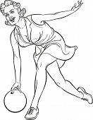 Pretty girl playing bowling. Outline drawing. Raster illustration.