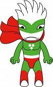 Toy green monster character. Raster illustration.