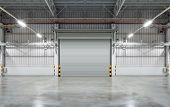 pic of roller shutter door  - Shutter door or rolling door gray color night scene - JPG