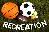 Recreation word with sports equipment