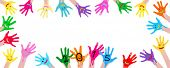 2015new year colorful smiley hands