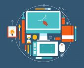Flat design vector illustration of modern creative workspace