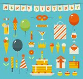Birthday party flat vector icons.