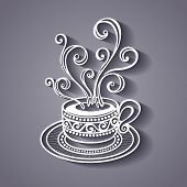 Decorative Cup of Coffee with Steam