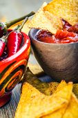 foto of doritos  - Salsa with tortilla chips and chilli peppers - JPG