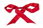 Shiny Red Silk Ribbon Tied In A Bow