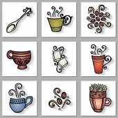 Vector Set of Ornamental Coffee Cups with Long Shadow