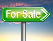 For sale sign, selling a house apartment or other real estate label.