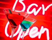Blue And Red Cocktail With Neon Bar Word Background With Space For Text