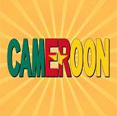Cameroon flag text with sunburst vector illustration