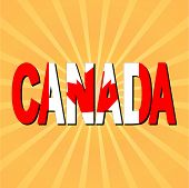 Canada flag text with sunburst vector illustration