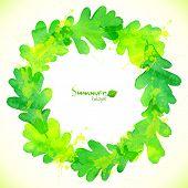 Green watercolor oak leaves vector wreath