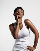 Black Woman Send A Kiss In A White  Blank Top