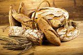 Traditional bread in wicker bucket