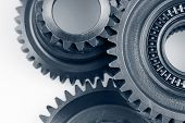 Closeup of three metal cog gears