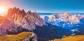 Great view of the Cadini di Misurina range and Sorapis group in National Park Tre Cime di Lavaredo.
