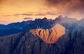 Great view of the Cadini di Misurina range in National Park Tre Cime di Lavaredo. Dolomites, South T