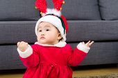Baby girl with christmas costume