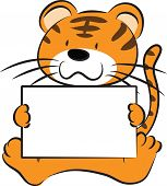 foto of cute tiger  - vector cartoon cute tiger holding blank paper - JPG