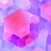 Abstract Purple Blue Overlapping Hexagons