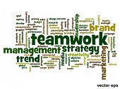 Vector eps concept or conceptual abstract success or teamwork marketing word cloud or word cloud iso