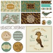Vintage Bird Party Set - for Party Decoration, Scrapbook, Wedding - in vector