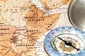 Travel Destination Kenya, Ethiopia And Somalia, Ancient Map With Vintage Compass