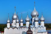 domes of Assumption Cathedral and church of Resurrection in Rostov Kremlin. The ancient town of Rostov The Great is tourist center of Golden Ring of Russia.