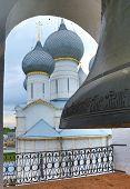 Big bell in belfry of Rostov Kremlin in Russia