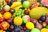 Mix of organic fruits, colorful  background