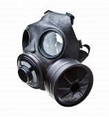 picture of rubber mask  - gas mask isolated on white - JPG
