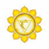 image of kundalini  - Illustration of a yellow solar plexus chakra mandala - JPG