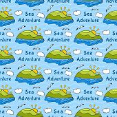 Summer seamless pattern with bright images of island, sea adventure, travel background