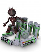 3D Render of an Android with batteries