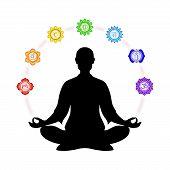 image of kundalini  - Illustration of meditation with the seven chakras - JPG