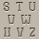 vector stone carved alphabet font - part 3