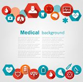 Medical background with colorful icons. Vector.